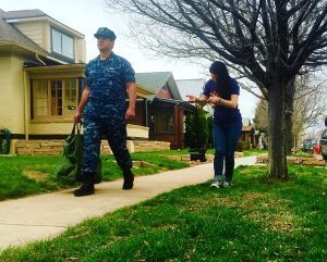 Navy Sailor walking